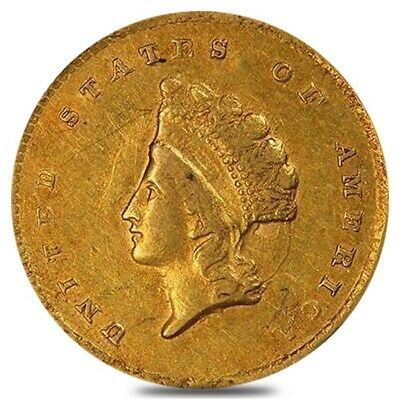$1 Gold Indian Princess Head Type 2 - Extra Fine XF (Random Year, 1854-1856)