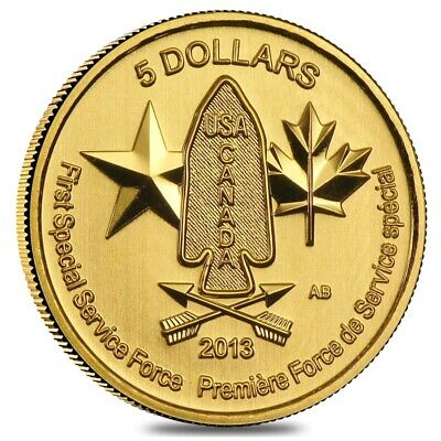 1/4 oz Gold Canada Special Service Force $5 Coin BU (Random Year)