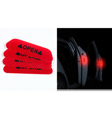 4x Super Red Car Door Open Sticker Reflective Tape Safety Warning Decal DIY