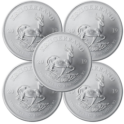 2019 (lot 0f 5)1 oz South African Silver Krugerrand Coins UNCirculated New