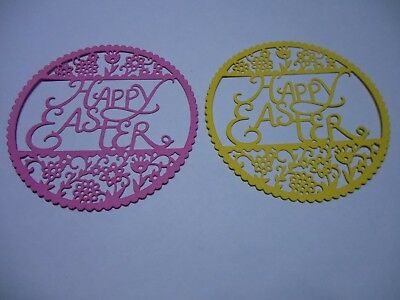 Happy Easter Round Floral Die Cut Cardstock Embellishments x 4 PC
