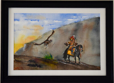 Original Watercolour Painting - A Kazakh hunting with an Eagle