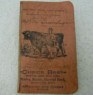 Vintage Farmers Pocket Ledger Antique Day Book Beef Mutton Pork Poultry