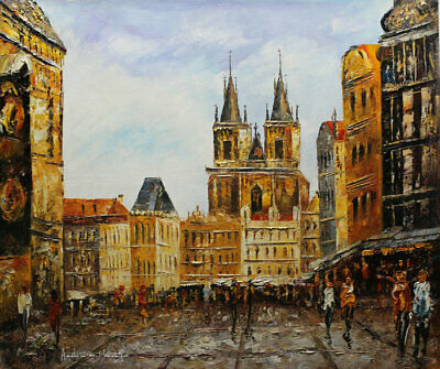 Original Prague Oil painting Wall art Decor On Canvas knife Hand Painted prg09