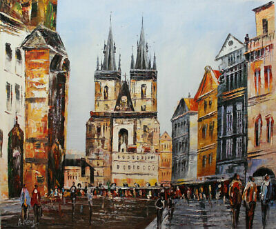 Original Prague Oil painting Wall art Decor On Canvas knife Hand Painted prg02