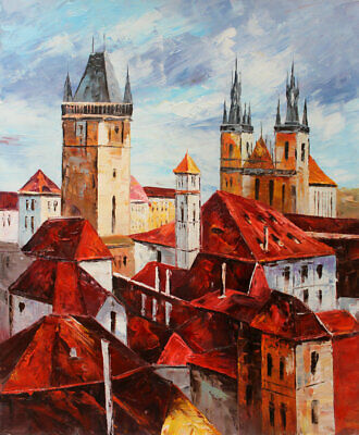 Original Prague Oil painting Wall art Decor On Canvas knife Hand Painted prg018