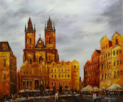 Original Prague Oil painting Wall art Decor On Canvas knife Hand Painted prg03