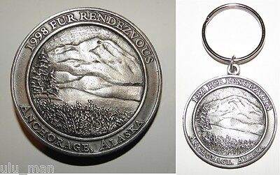 Alaska Fur Rondy Collectable Mountain Scene Set Belt Buckle and Key Chain 1998