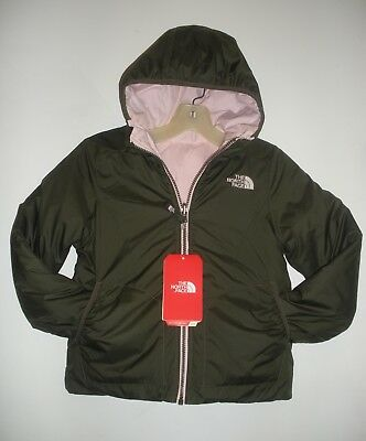 d29e5f600 THE NORTH FACE Girls Reversible Perrito Jacket-Taupe Green/ P Pink- S,M,L,Xl