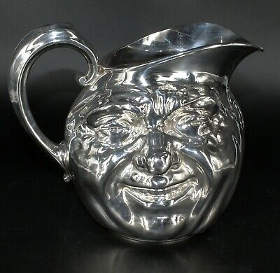 Vtg 1962 REED AND BARTON SILVER 5640, 7 HP SUNNY JIM, SMILING TOBY Jug PITCHER