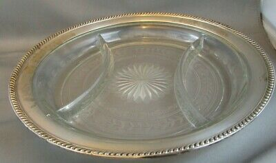 "Antique WATSON Sterling Co. 10 1/2"" Sterling Rimmed Cut Glass Divided Plate RARE"