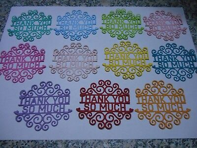 Thank You Sentiment, Word Greeting Die Cut Cardstock Embellishments x 6 PC