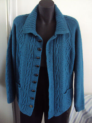 handmade custom green cardigan cable jumper vintage wool fit size S M L 8 10 12