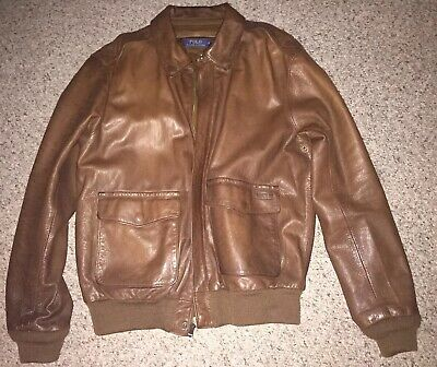 Flight Lauren Large Aviator Mens Leather A2 Jacket Polo Ralph Brown Bomber Size 08ONnwPkX
