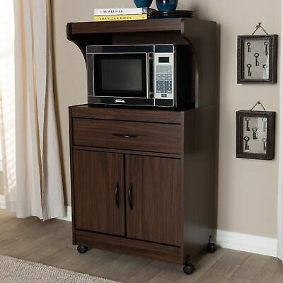 BROWN WOODEN MICROWAVE Cart Rolling Kitchen Storage Shelf Stand Utility  Cabinet