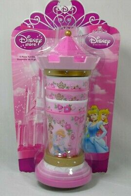 Disney Store Kids Girls Pink Castle Princess 4 Piece Tumbler Set Cups New