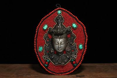 Chinese Antique Tibetan Buddhism hand-stitched system mother mosaic gem mask