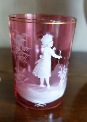 Victorian Mary Gregory Cranberry Glass Mug