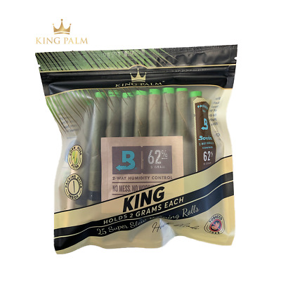 25 x King Palm Natural Leaf Blunt Wraps (KING Size)  (1 Pack - 25 Wraps)