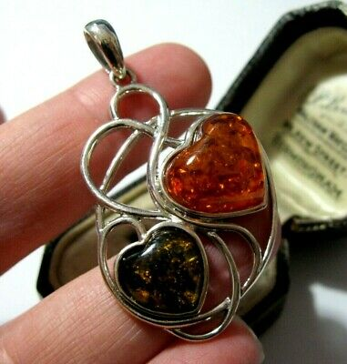 Beautiful Sterling Silver Big Baltic Green Honey & Cognac Amber Necklace PENDANT