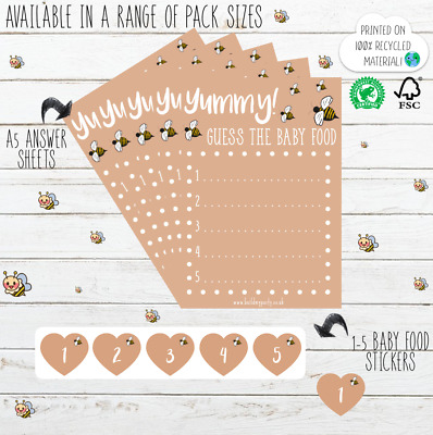 Baby Shower Yummy! Guess The Baby Food Game Pack - Rustic Kraft Cute Bee Design