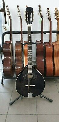 Black octave mandolin with EQ made in Romania, solid wood