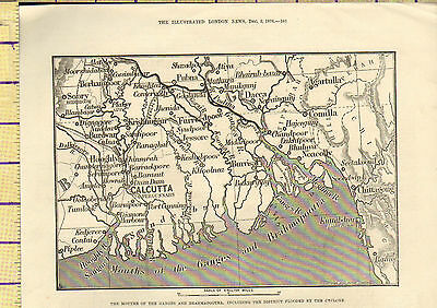 1876 Map ~ India Mouth Of The Ganges & Brahmapootra Cyclone Illustrated Ldn News