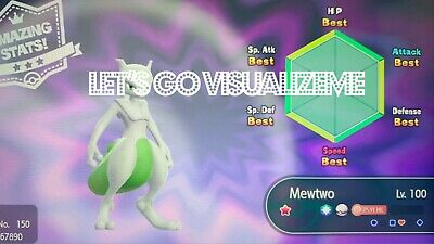Pokemon Let's Go Shiny Mewtwo 6IV Level 100 Max AVs [Fast Delivery]