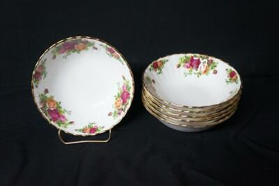 "6 Royal Albert Old Country Roses Cereal Bowls 6 1/4"",  1962 England"