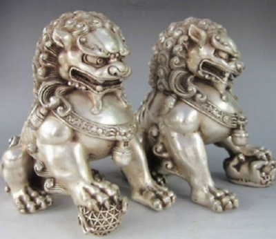 A Pair Chinese Antique Silver Guardian Lion Foo Fu Dog Door guard Statue