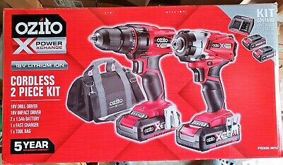 Ozito 18v cordless 2 piece kit with two batteries + fast charger + tool bag BNIB