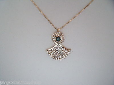 New Art Deco Style Retro 1930s Necklace Pendant in Gold & Green or Silver & Pink