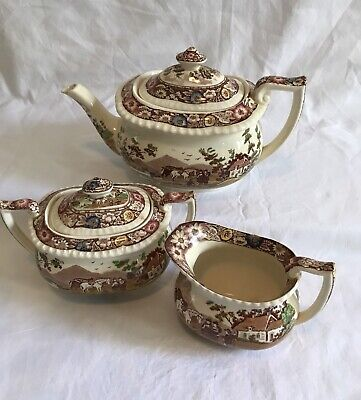 Royal Cauldon Transferware Tea Set, NATIVE, Sugar,Creamer,Teapot