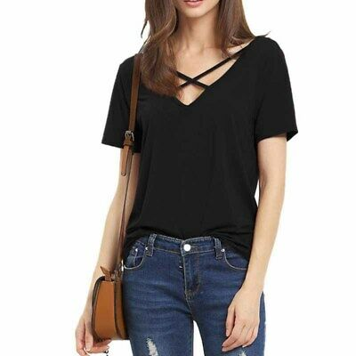 Womens Tops Short Sleeve Tee V-Neck T-shirts Cross Pure Color Pullover Plus Size