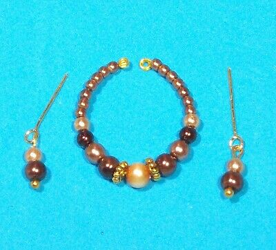 Barbie Dreamz BROWN & GOLD PEARLS Necklace & Earrings Doll Jewelry
