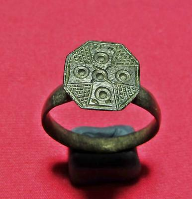 Byzantine Ancient Bronze Cross Ring