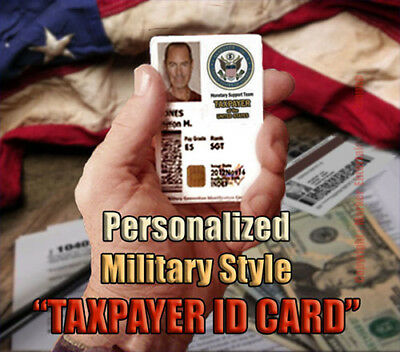 """AMERICAN TAXPAYER"" Novelty Military  Style CAC Personalized Novelty ID Card!!"