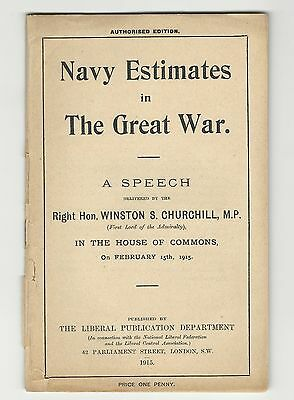 Winston S. Churchill - Navy Estimates in the Great War, 1915, first edition