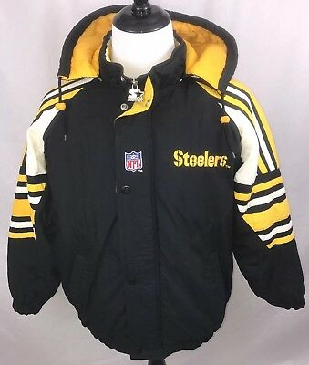 buy popular a181f 32f58 RARE VINTAGE STARTER NFL Pro Line Pittsburgh Steelers Coat Jacket Football  Sz S