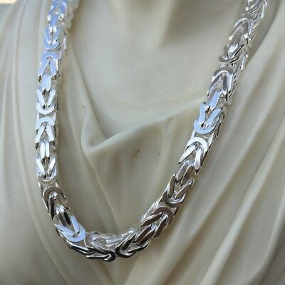 NEW MENS SQUARE Byzantine Chain Necklaces 925 Sterling Silver 6mm 26Inch  115GR