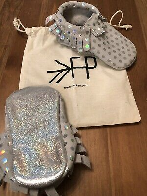 NWT Freshly Picked Moccasins Hologram Size 1 silver iridescent leather Sold Out!