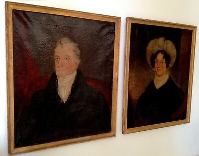 Rare Mated Pair Antique Late 18th Early 19th Century Oil Portrait Paintings