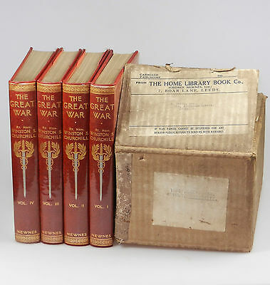 Winston S. Churchill - The Great War, four volumes, in publisher's shipping box