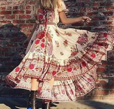 New Boho Off the Shoulders White pink Dress Printed Peacock Dress Maxi Small