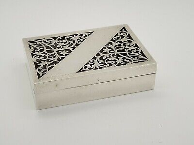 Rectangular Solid Silver Box With Decorative Pierced Lid