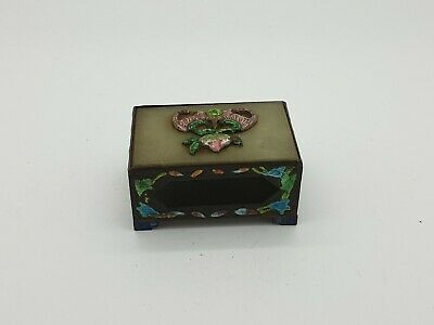 ANTIQUE CHINESE SOAPSTONE & ENAMEL MATCHBOX HOLDER ~ c1920's AF