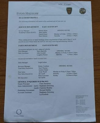 Evans Halshaw MG Rover Reading 1990s Dealer Profile Contact Information A4 sheet