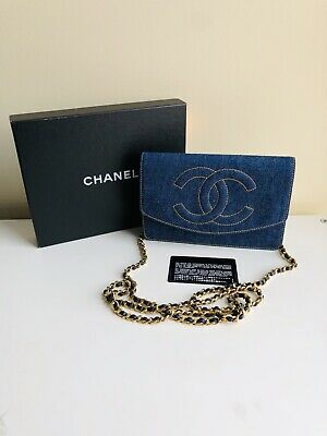 6d172f58a40b RARE NEW CHANEL Vintage Denim Wallet on Chain WOC Flap Bag Gold HW ...