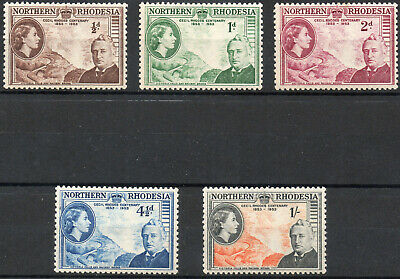 Northern Rhodesia 1953 QEII Cecil Rhodes set of 5 mint stamps  Mint Hinged