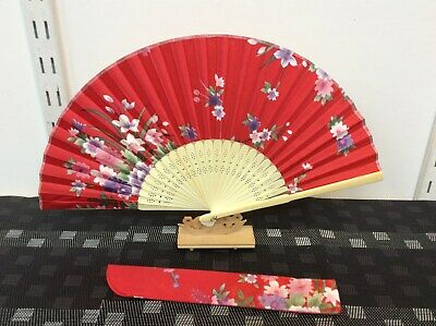 Japanese Silk Hand Fan-Floral Design with Silk Fan Holder - Red N05